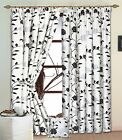 High Quality White Silver & Black Raised Flock Rose Lined  DOOR  Curtain. NEW!