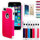 Hybrid Rugged Rubber Bling Crystal Hard Case Cover for iPhone 5 5G 5S + Gifts HK