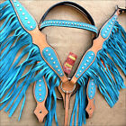 HILASON WESTERN LEATHER BRIDLE HEADSTALL BREAST COLLAR TAN TURQUOISE w/ FRINGES
