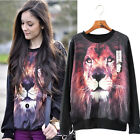 Vogue Women's Casual Hoodie 3D Lion Printed Sweatshirt Sweaters Coats UKMW