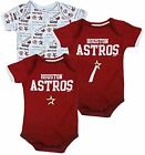 Houston Astros MLB Baseball Infants Baby 3 Pack Bodysuit Creeper Set