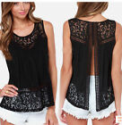Women Summer Vest Top Lace Black Sleeveless Blouse Casual Tank Tops T-Shirt