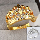 Fashion Crown Ring 18KGP Rhinestone Crystal Size 5.5-10