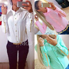 Fashion Womens Chiffon Shirt Long Sleeve Button Down Collar Casual Tops Blouse