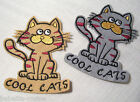 ÉCUSSON PATCH BRODÉ thermocollant CHAT COOL CAT **8 x 10 cm**