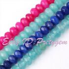 3x5mm Jade Faceted Rondelle Shape Gemstone Beads For Jewelry Making Strand 15""