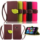 Leaf Card Stand Flip Colors Wallet Leather Skin Case Cover For Nokia Lumia Phone