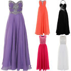 Womens Sleeveless Strapless Crystal Chiffon Prom Maxi Bridesmaid Gown Dress
