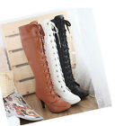 New Fashion Ladies Women's High Heel Lace UP Knee High Boots Shoes US All Size