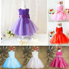 Flower Bows Girl Princess Pageant Wedding Bridesmaid Party Tulle Dress New