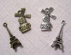 LOT de 2 CHARMS BRELOQUES - TOUR EIFFEL & MOULIN ROUGE PARIS FRANCE