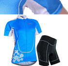 Cycling Bike Short Sleeve Clothing Bicycle Jersey+Shorts For Woman Sz S-XL Blue