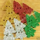 5 X GLITTER Christmas tree buttons green or silver 20mm x 15mm