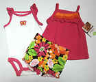 NWT: New Carter's 3-pc Pink & Multi-Color Floral Outfit Set, 3 or 6 Mo, Rtls $22