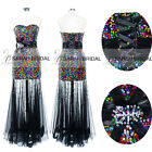 Sequined Long See-through Prom Evening Homecoming Pageant Party Dress Plus Size