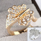 B1-R436 Fashion Rhinestone Butterfly Ring 18K GP Swarovski Crystal Size 5.5-8