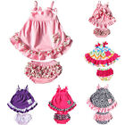 Baby Girl 2pcs Clothing Set Ruffle Bloomers +Tshirts Toddler Cotton outfit 0-24M