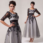 PLUS SIZE 20-26 Long Half Sleeve Tulle Dress Wedding Prom Ball Gown Bridesmaid