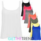 Womens Plain Swing Vest Ladies New Cami Strappy Flared Sleeveless Vest Top