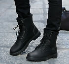 Men's Motorcycle Lace Up Ankle Boots MIilitary Worker Boots British Style Shoes