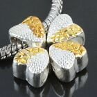 Silver&Gold Heart Carved  Big Hole Loose Bead Fit Charms European Bracelet DIY