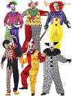 Mens Scary Clown Costume + Mask Halloween Evil Sinister Circus Adult Fancy Dress