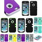 Rubberized Pattern Hybrid Phone Protector Cover Case For Apple iPhone 5S SE 5