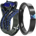 SZ 5-14 Black Blue Sapphire Princess Cut Wedding Engagement Bridal Ring Set Halo