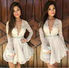 MO Sexy V Neck Mini Dress LongSleeve Lace Hollow Embroider Cocktail Evening UF1M