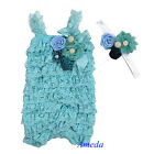 Baby Aqua Blue Rosettes Pearl Lace Petti Romper Crystal Headband Photo Prop 0-3Y