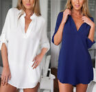 Womens Chiffon Casual Loose Shirt Size 8-24 Ladies Long Sleeve Top Blouse Tee