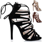 WOMENS LACE UP HIGH HEEL STILETTO SANDALS PUMPS SHOES SZ 5-10