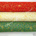 Gold leaf poinsettas fabric 100 % cotton per fat quarter/half metre 3 colours