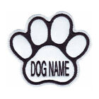 CUSTOM PAW DOG NAME WHITE EMBROIDERED PATCH