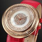 Luxury Crystal Mother of Pearl MOP Dial Leather Quartz Lady Women Wrist Watch