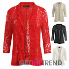 Womens All Lace Black Red Blazer Open Front Floral Lace 3/4 Sleeves Coat Jacket