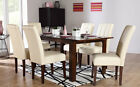 Java & Carrick Extending Dark Wood Dining Table & 4 6 Leather Chairs Set (Ivory)
