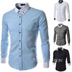 Top Designer Mens Slim Fit Long Sleeve Casual Shirt Tops Formal Dress Shirts NEW