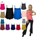 Womens Plain SWING VEST Sleeveless CAMI Top lot Strappy Flared Printed plus size