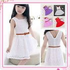 Girls Skater Dress Kids Party Dresses Belted New Age 4 5 6 7 8 9 10 11 12 Years
