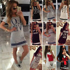 Fashion Womens Casual Short Sleeve T shirt Long Tops Letters Printed Mini Dress