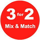 3 for 2 Mix & Match Red Promotional Sale Stickers Labels Tags 6 Sizes Available