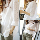 Women Hollow Crochet Long Sleeve Button Down Collar Loose Long Top Shirt Blouse