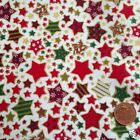 CREAM All Stars Christmas fabric  100 % cotton per 1/2 mtr or per FQ