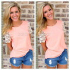 Women's Summer Vest Top Short Sleeve Blouse Summer Casual Tank Tops T-Shirt Lace