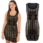 Ladies Sleeveless Gold Sequin Embroidery Tight Studded Bodycon Mini Party Dress