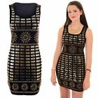 Womens Sleeveless Studded Gold Sequin Embroidery Bodycon Tight Party Mini Dress