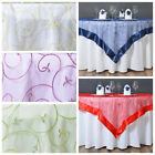 """10 pcs 60x60"""" Embroidered Sheer Organza Table OVERLAYS Wedding Party Decorations"""
