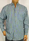 Men's L/S Striped Denim Shirt Relaxed Fit Buttoned down Collar, One Pocket -M05