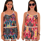 Womens Bobble Pom Pom Trim Aztec Zebra Co Ord Cami Crop Top Vest Shorts Set